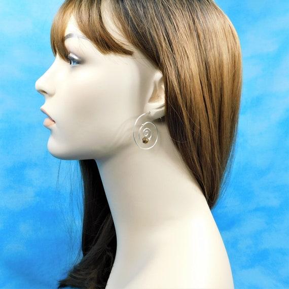 Sterling Silver Hoop Earrings with Gemstones, Tiger Eye Hoop Earrings