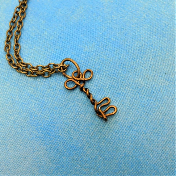 Wire Sculpted Rustic Skeleton Key Pendant Necklace, Handmade Copper Wearable Art Jewelry for Women, Anniversary Gift for Wife or Girlfriend