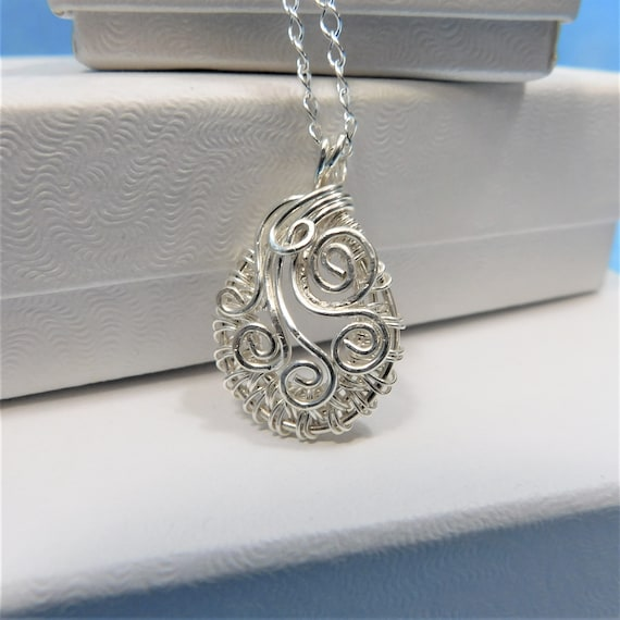 Sterling Silver Woven Wire Pendant, Unique Wire Wrapped Necklace, Artisan Crafted Wearable Art Jewelry, Present Ideas, Mother in Law Gift