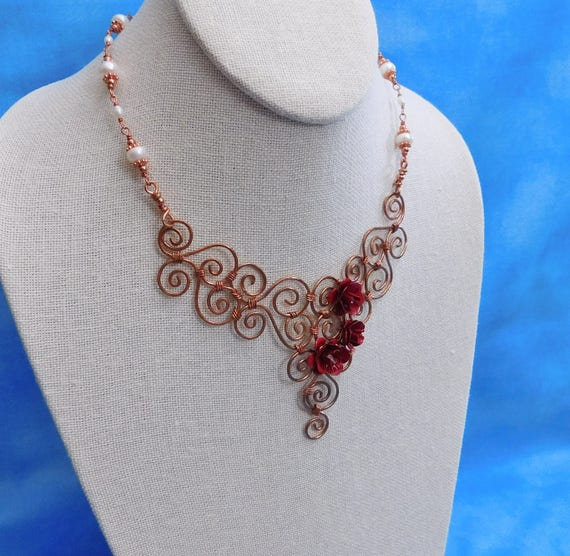 Artistic Handcrafted Copper Scroll Work Bib Necklace with Red Roses and Freshwater Pearls, Unique Wire Wrapped Statement Jewelry