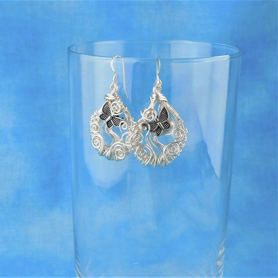 Artistic Butterfly Earrings, Unique Woven Wire Wrapped Dangles, Artisan Crafted Wearable Art, Birthday Anniversary Present Ideas for Women