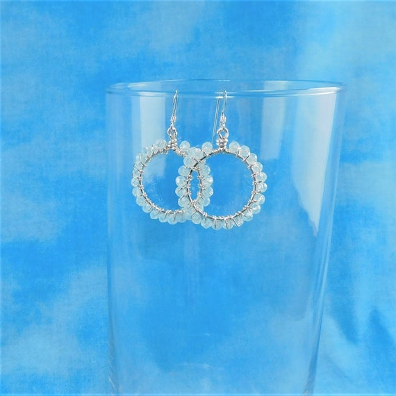 White Crystal Hoop Earrings, Unique Wire Wrapped Artistic Jewelry, Handmade Mother's Day Present Ideas for Mom, Wife, Mother in Law Gift