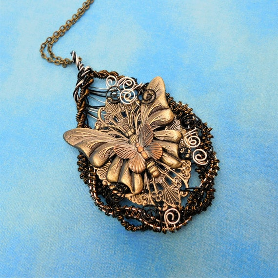 Butterfly Necklace Unique Woven Wire Wrapped Copper Statement Pendant Artistic Handmade Wearable Art Jewelry Birthday Present Idea for Women