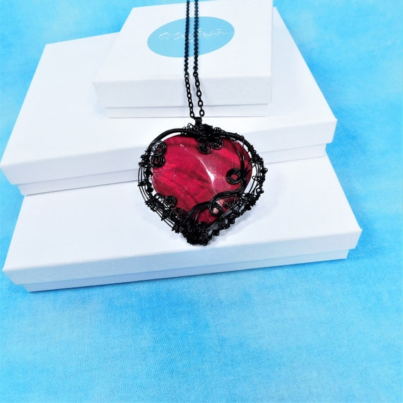 Very Large Black Heart Necklace, Unique Woven Wire Wrapped Pendant, Artisan Crafted Artistic Jewelry, Wearable Art Romantic Present for Her