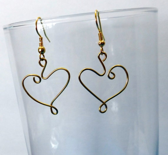Sculpted Brass Wire Heart Dangle Earrings Unique Handmade Romantic Artisan Jewelry Valentine Birthday Anniversary Present Ideas for Women