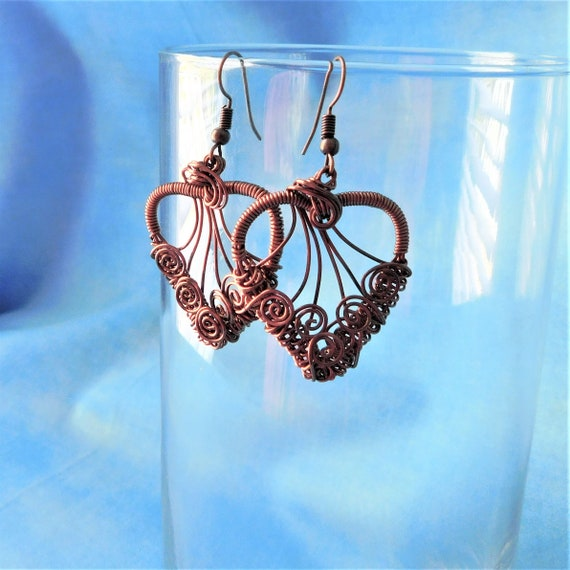 Copper Heart Earrings, Romantic Jewelry Gift for Wife or Girlfriend, Artisan Crafted Woven Wire Wrapped Artistic Handmade Present for Women