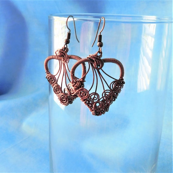 Copper Heart Earrings Romantic Jewelry Gift for Wife Girlfriend Artisan Crafted Unique Woven Wire Wrap Artistic Handmade Present for Women