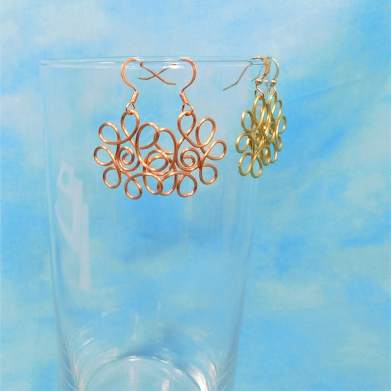 Wire Flower Pierced Earrings, Unique Sculpted Wire Jewelry, Small Handmade Flower Dangles, Artisan Crafted Wearable Art Gift for Women