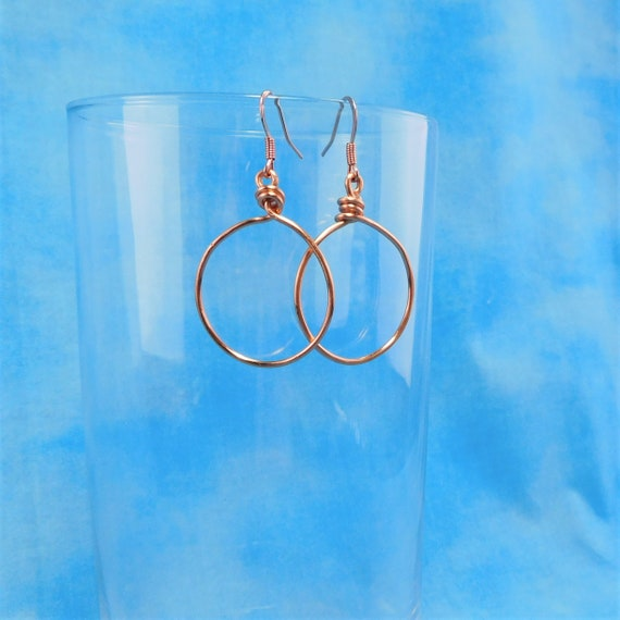 Simple Light Weight Bright Copper Hoop Earrings, Unique Handmade Wire Jewelry Present for Mom, Girlfriend, Wife, Sister, Mother in Law Gift