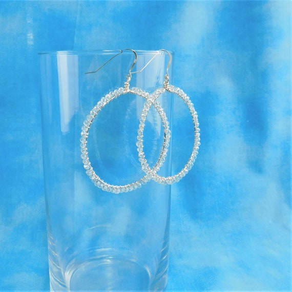 Large Crystal Hoop Earrings, Unique Wire Wrapped Artistic Jewelry, Handmade Mother's Day Present Ideas for Mom, Wife, Mother in Law Gift