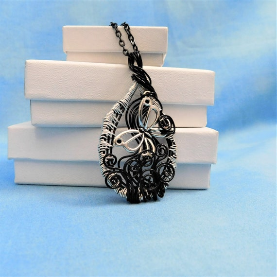 Artistic Butterfly Necklace Unique Wearable Art Memorial Pendant, Jewelry Gift for Graduation, Birthday, Anniversary, or Bereavement Present