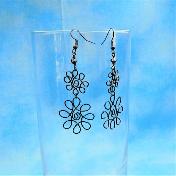 Large Black Wire Flower Dangle Earrings for Pierced Ears, Unique Wire Wrapped Jewelry, Artisan CraftedWearble Art Jewelry Present for Women
