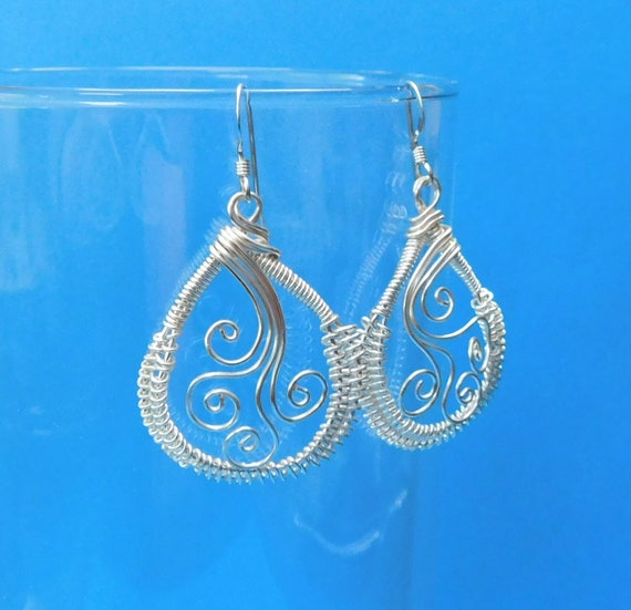 Artistic Wire Wrapped Earrings Unique Handmade Dangles Woven Sculpted Wire Jewelry Wearable Art Artisan Crafted Loops Gift Ideas for Women