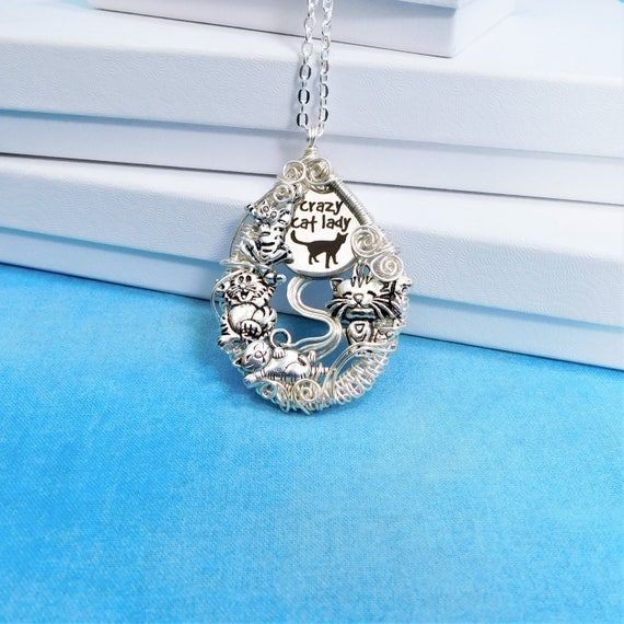 Crazy Cat Lady Necklace Cat Theme Jewelry, Humorous Artistic Cat Pendant, Kitty Theme Present for Pet Lover, Gift for Women Who Love Cats