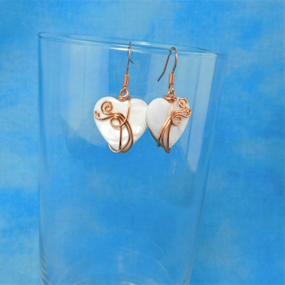 Copper Wrapped Heart Earrings, Artistic Anniversary or Birthday Present for Sweetheart, Romantic Jewelry Gift Ideas for Girlfriend, Wife