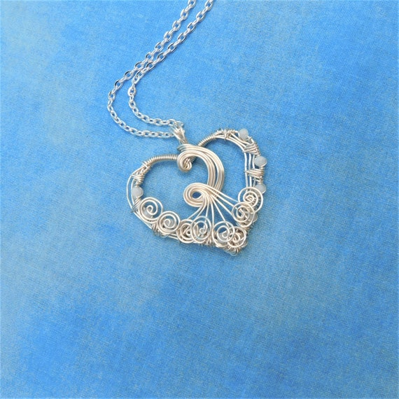 Silver Woven Wire Heart Necklace, Wearable Art Jewelry, Artistic Pendant Valentine, Birthday or Anniversary Present for Wife or Girlfriend