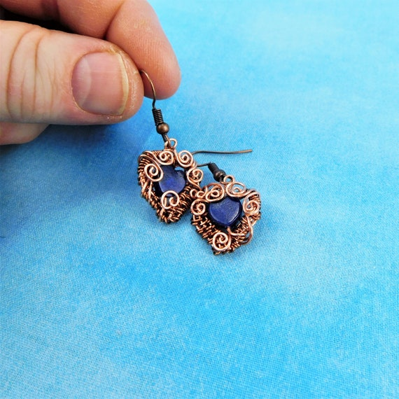Lapis Lazuli Earrings Blue Gemstone Heart Dangles, Unique Handmade Copper Wire Wrapped Wearable Art Jewelry Birthday Present Ideas for Women
