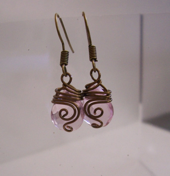 Artistic Rustic Bronze Pink Crystal Earrings, Unique Wire Wrapped Artisan Crafted Teardrop Dangles Wearable Art Jewelry Mother's Day Present