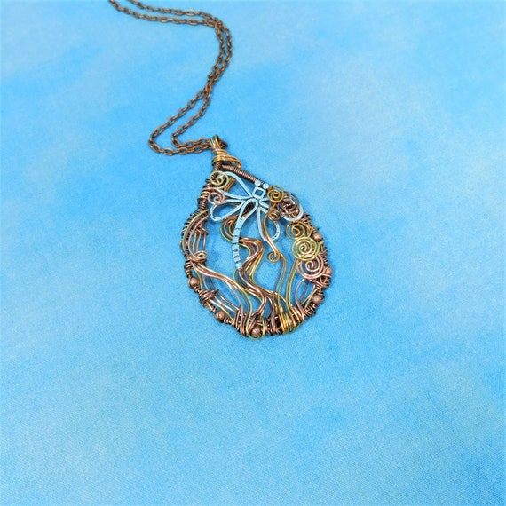 Unique Copper Wire Wrapped Dragonfly Necklace, Artisan Crafted Wearable Art Jewelry, Artistic Memorial Pendant Sympathy Gift for Women
