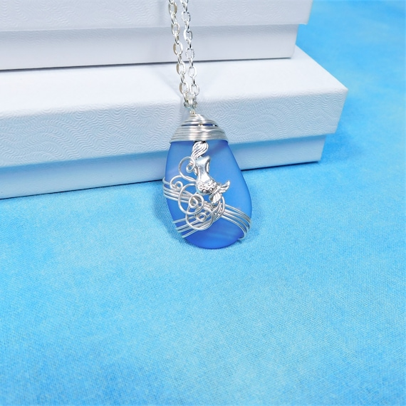 Unique Wire Wrapped Artistic Ocean Pendant Beach Theme Jewelry Present for Wife or Daughter Artisan Crafted Blue Sea Glass Mermaid Necklace