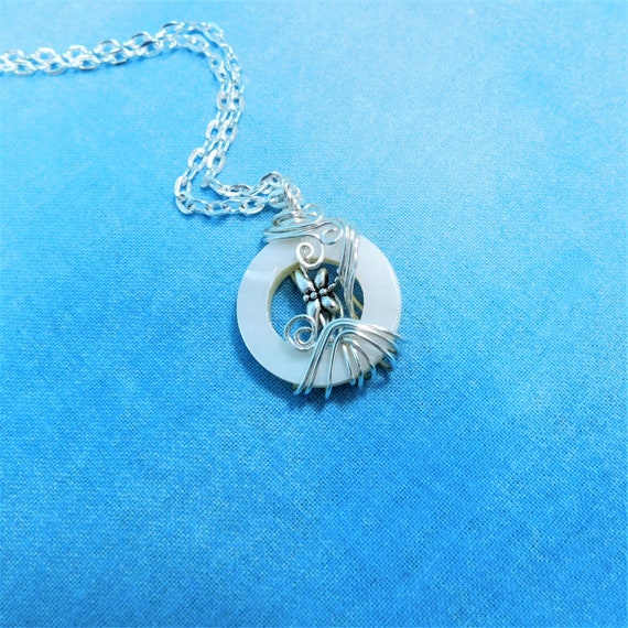 Small Unique Dragonfly Necklace, Wire Wrapped Wearable Art Jewelry, Artisan Crafted Pendant for Graduation, Confirmation or Memorial Gift