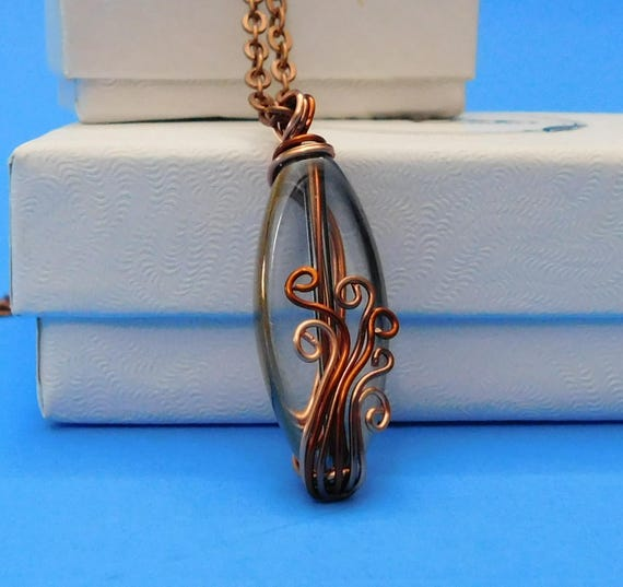 Wire Wrapped Rustic Copper Jewelry, Artistic Handcrafted Wrapped Glass Pendant, One of a Kind Wearable Art Necklace Unique Gift for Women