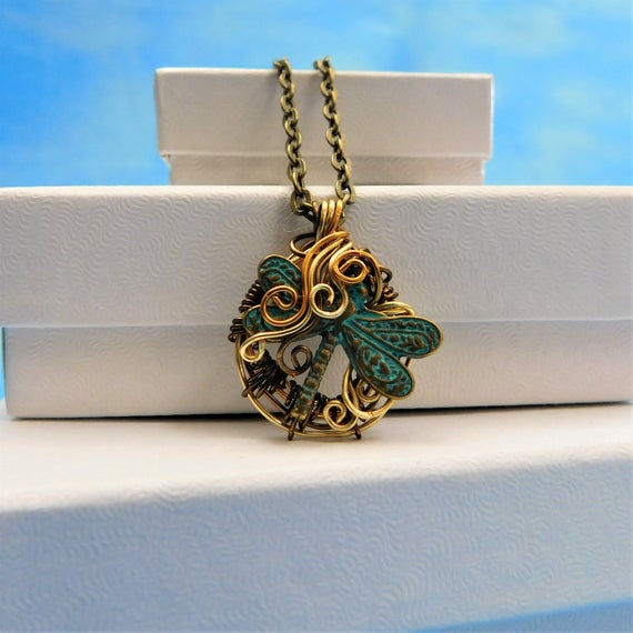 Dragonfly Necklace Unique Artisan Crafted Woven Wire Wrapped Jewelry Rustic Copper Pendant Birthday Anniversary Present Ideas for Women