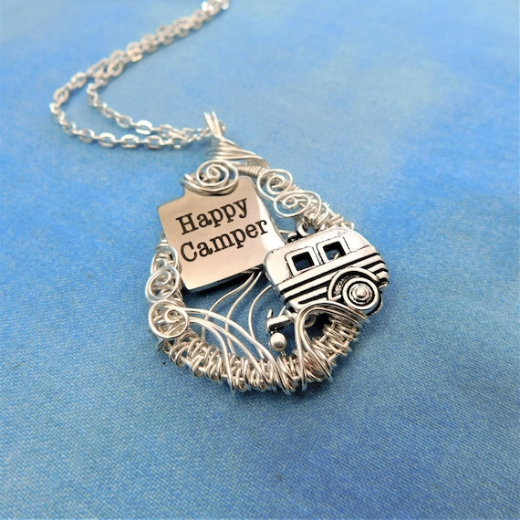 Wanderlust Necklace, Happy Camper Pendant, Artisan Crafted, Unique Wire Wrapped, Travel Trailer, Retirement Theme, Artistic Traveler Jewelry