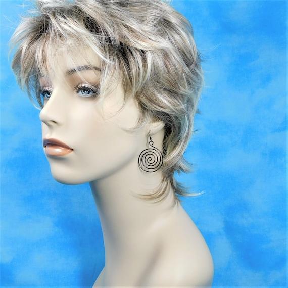 Black Hoop Earrings, Sculpted Wire Spiral Pierced Earrings, Swirl Loop Dangles Women's Jewelry for Birthday Present or Best Friend Gift