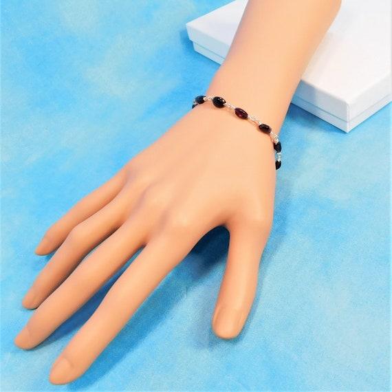 Dainty Garnet Bracelet, Wire Wrapped January Birthstone Jewelry Anniversary Gift for Wife, Girlfriend or Birthday Present for Mom