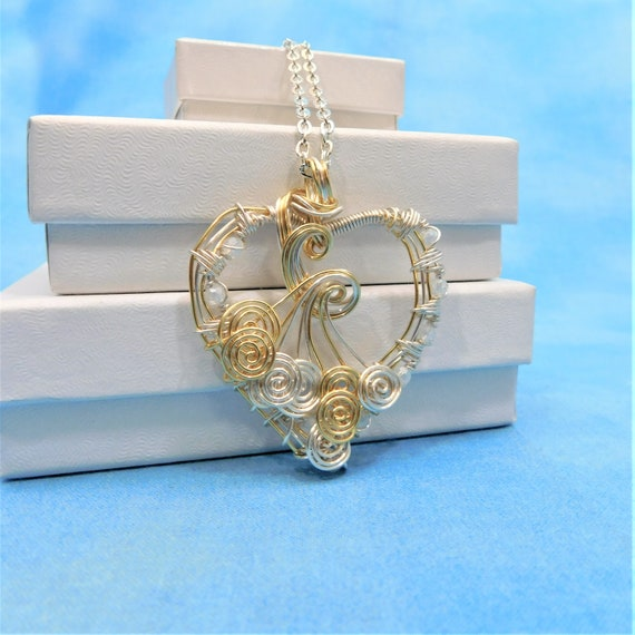 Artistic Heart Necklace, Artisan Crafted Woven Wire Wrapped Wearable Art Jewelry, Romantic Handmade Pendant for Birthday or Anniversary Gift