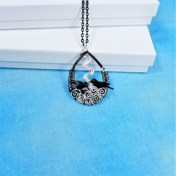 Wire Wrapped Bird Nest Necklace, Unique Blackbird Pendant for Pregnancy Announcement Gift Jewelry, Present for Mom, Grandma or Mother in Law
