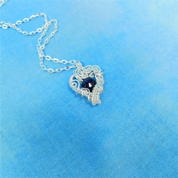 Sapphire Necklace Artisan Crafted September Birthstone Pendant, Genuine Gemstone & Sterling Silver Jewelry, Romantic Present for Women