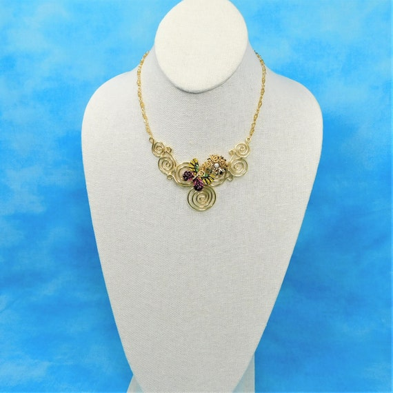 Wire Wrapped Butterfly Scroll Work Bib Style Statement Necklace Wearable, Artistic Memorial Jewelry for Sympathy Gift Bereavement Present