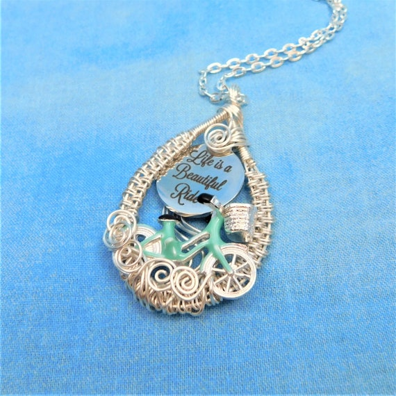 Unique Cyclist Necklace Handmade Bicycle Jewelry, Artisan Crafted  Woven Wire Wrapped Life is a Beautiful Ride Pendant Birthday Present Idea