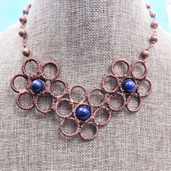 Lapis Lazuli Necklace, Artisan Crafted Flower Gemstone and Copper Statement Jewelry, Unique Wire Wrapped Artistic Handmade Present for Mom