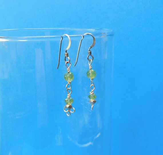 Simple Wire Wrapped Peridot Dangle Earrings, Unique Gemstone Jewelry, August Birthstone, Artistic Handcrafted Birthday, Mother's Day Present