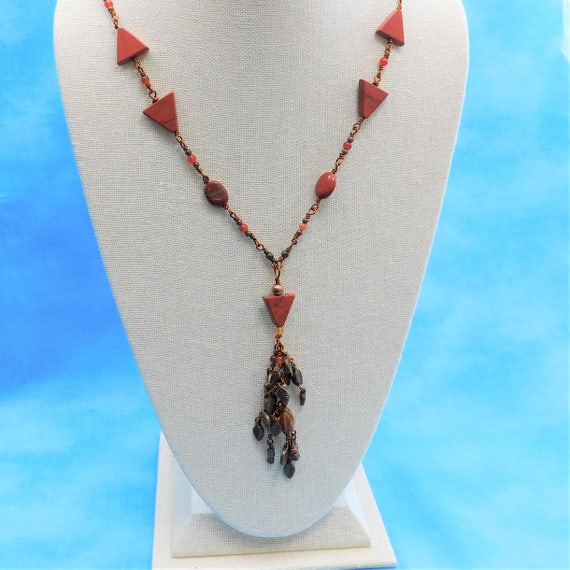 Artistic Red Jasper Necklace Statement Jewelry, Unique Wire Wrapped Beaded Tassel Gemstone Wearable Art Handmade Birthday Present for Women