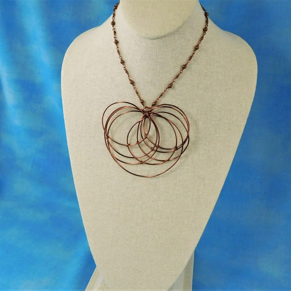 Large Statement Necklace Anniversary Present for Wife, Artisan Crafted Wire Wrapped Copper Geometric Bib Necklace, Wearable Art Jewelry Gift