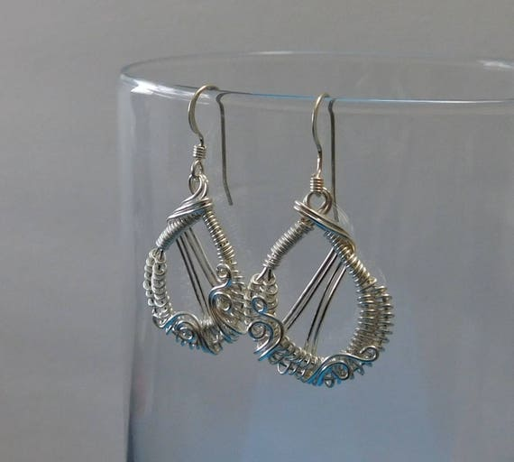 Small Unique Wire Wrapped Earrings Simple Silver Woven Dangles Artistic Artisan Crafted Handmade Jewelry Birthday Present Ideas for Women