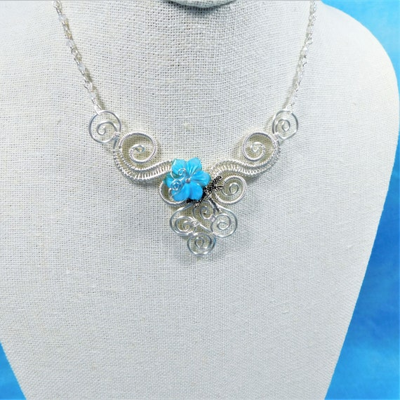Artistic Flower Dragonfly Necklace Bib Statement Jewelry, Unique Wire Wrapped Scroll Work Boho Wearable Art Gift Ideas for Wife, Girlfriend