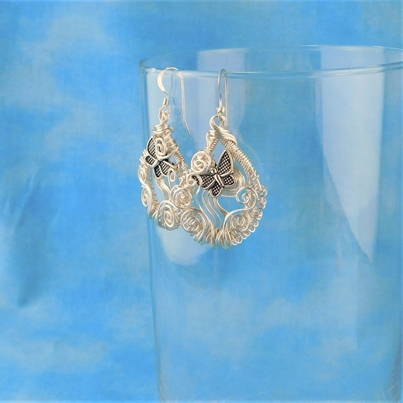 Artistic Butterfly Earrings, Unique Woven Wire Wrapped Dangles, Artisan Crafted Wearable Art Jewelry Bereavement Present Sympathy Gift