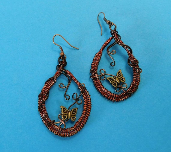 Butterfly Earrings Unique Wire Wrapped Woven Copper Jewelry Artisan Crafted Artistic Handmade Wearable Art Present Birthday Ideas for Women
