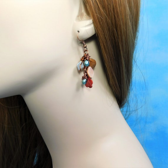 Wire Wrapped Dangle Earrings with Moonstone, Carnelian, Pearls and Shells, Artisan Crafted Rustic Boho Gemstone Cluster Dangles