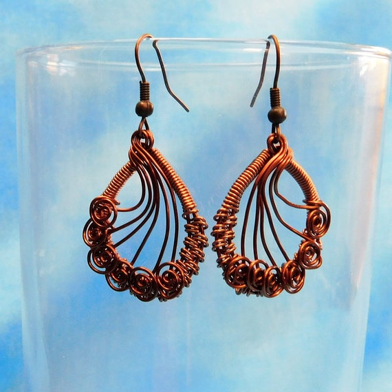 Artistic Copper Wire Wrapped Earrings, Rustic Boho Handmade Dangles, Artisan Crafted Woven Wire Jewelry, Present Ideas for Wife, Girlfriend