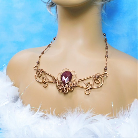 Artistic Red Jade Bib Style Statement Necklace, Unique Wire Wrapped Sculpted Copper Jewelry, Artisan Crafted Handmade Gemstone Wearable Art