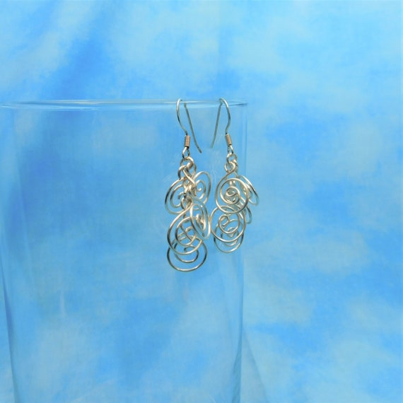 Sculpted Wire Swirl Cluster Earrings, Wire Wrapped Wearable Art Jewelry, Artistic Silver Dangles for Present Ideas for Women
