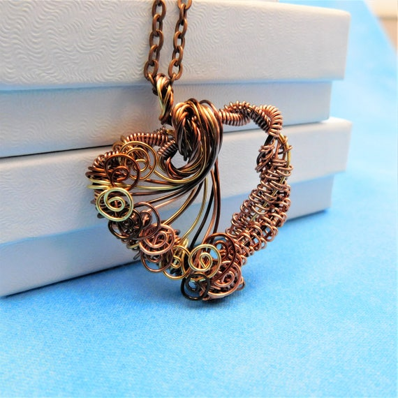 Rustic Heart Necklace Unique Woven Copper Wire Pendant Artisan Crafted Jewelry Handcrafted Wearable Art Birthday Present Ideas for Women