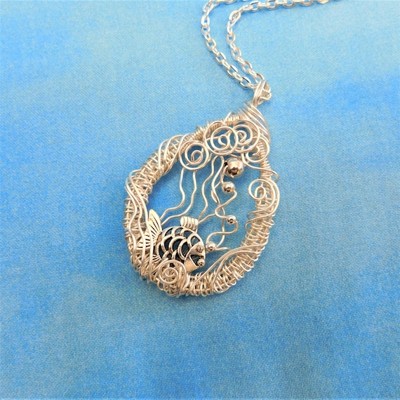 Whimsical Artisan Crafted Fish Necklace, Unique Wire Wrapped Jewelry, Fun Ocean Theme Wearable Art Pendant Birthday Present for Wife or Mom