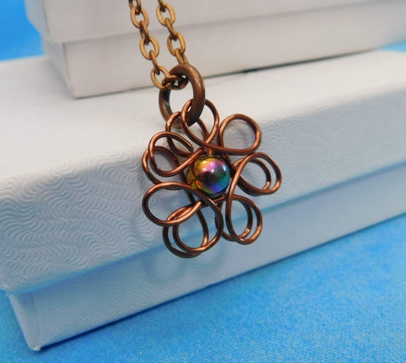 Single Pearl Necklace, Artisan Crafted Flower Jewelry, Simple Sculpted Wire Wearable Art Pendant, One of a Kind Artistic Copper Wire Jewelry